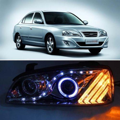 569.05$  Watch here - http://alinst.worldwells.pw/go.php?t=1784475437 - Smoke Black LED Angel Eye DRL Projector Headlight for Hyundai Elantra 04-06