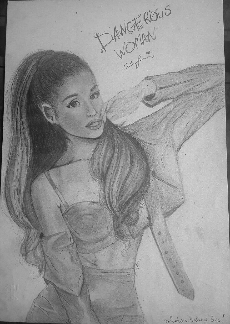 Portrait of ariana grande dangerous woman i used a fabriano paper 33x48 cm and the following pencils hb 2b 4b 4h i hope you enjoy my drawing as i