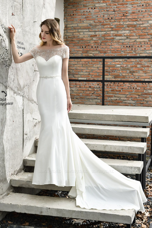 Bmbridal Mermaid Satin Lace Off The Shoulder Affordable Ivory Wedding Dress Elegant Bridal Dress Online Wedding Dress Short Sleeve Wedding Dress [ 1500 x 1000 Pixel ]