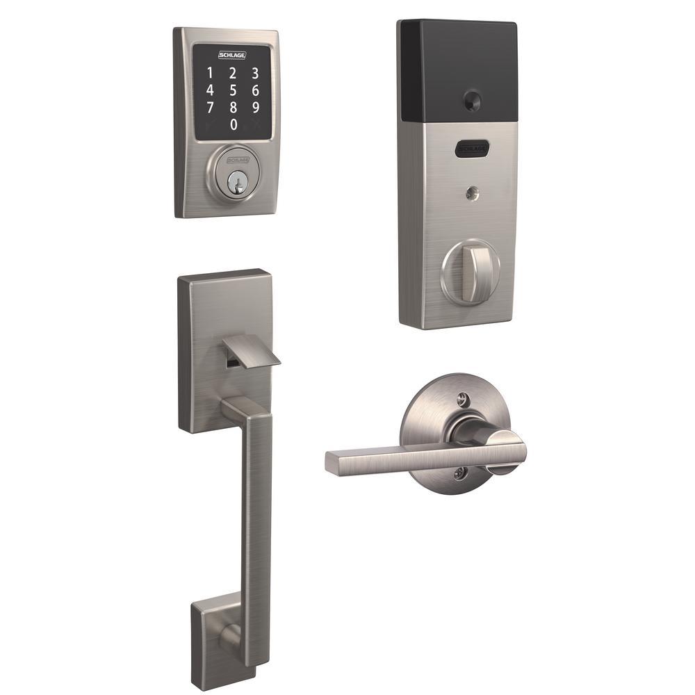 Schlage Century Satin Nickel Connect Smart Lock With Alarm And Latitude Lever Handleset Be469zp V Cen619 Fe285 V Lat 619 Cen The Home Depot Smart Lock Schlage Smart Door Locks