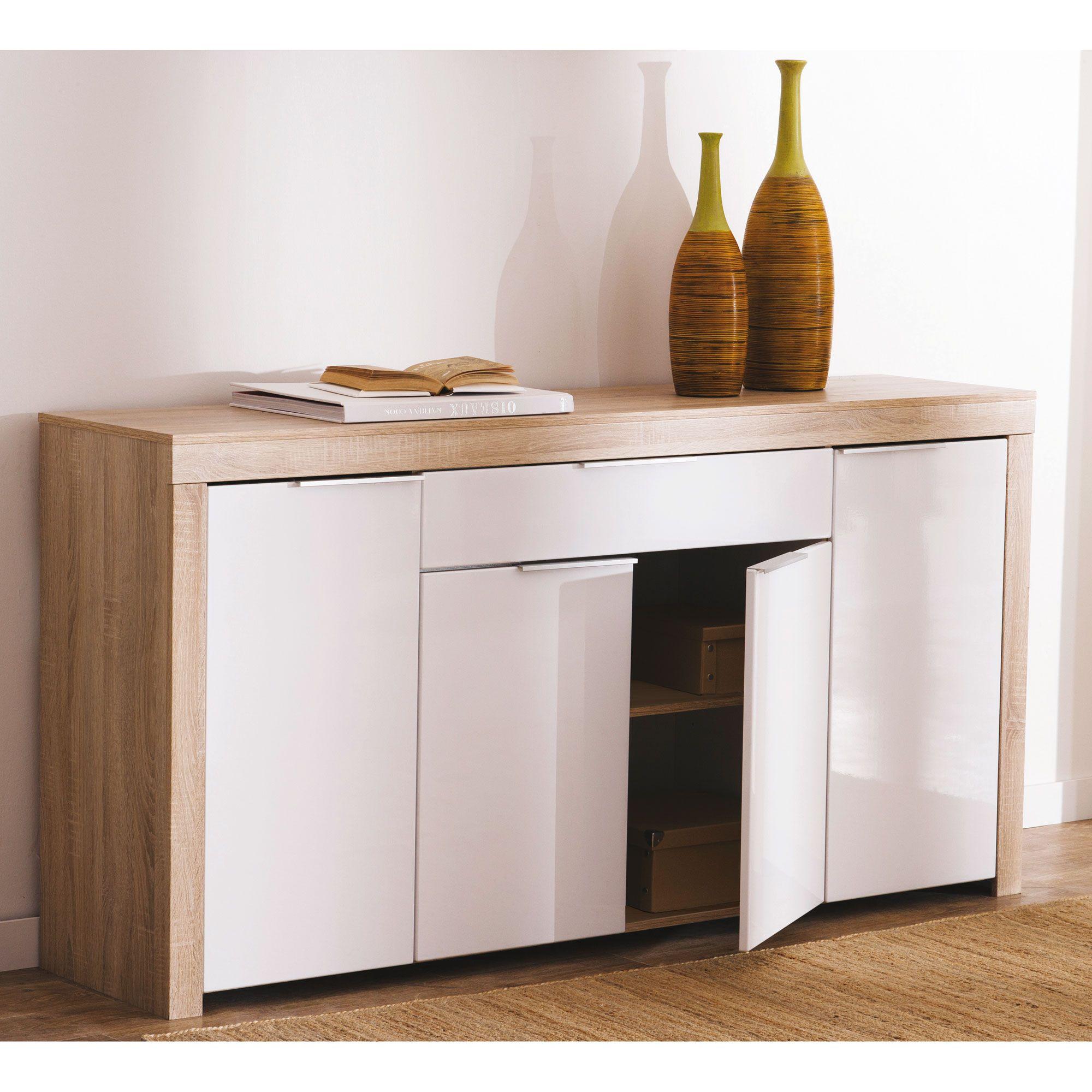 Buffet Bas 4 Portes 1 Tiroir Blanc Et Bois L177 2 Cm Naxis  # Modeles De Buffet Bas Blanc Laque Design
