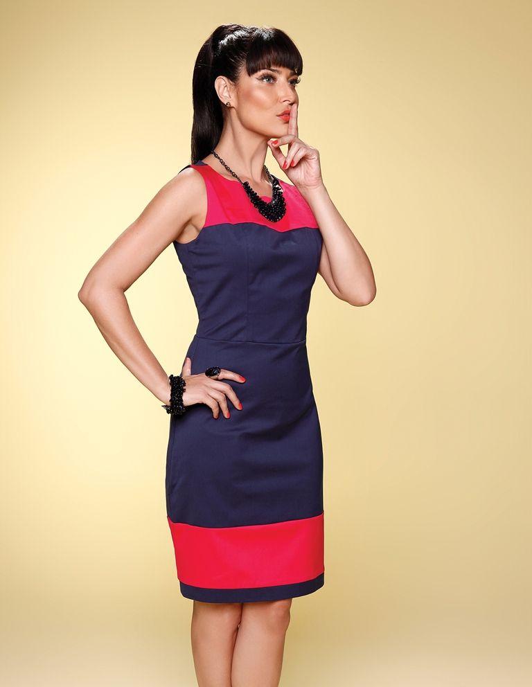 41f5ac0a8 Vestido bicolor Pimenta Marinho - Richini Color Blocking Outfits