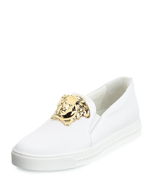 ef7ddf29ca04 Leather Slip-On Sneaker with Golden Medusa Head