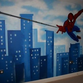 Spider man wall theme wall decor idea from getitcut.com