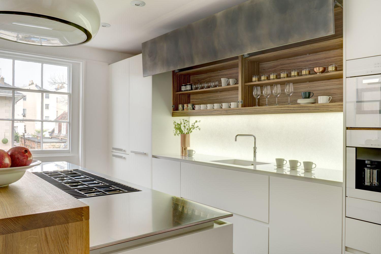 Patinated silver finish and white matt lacquer urbo bespoke kitchen