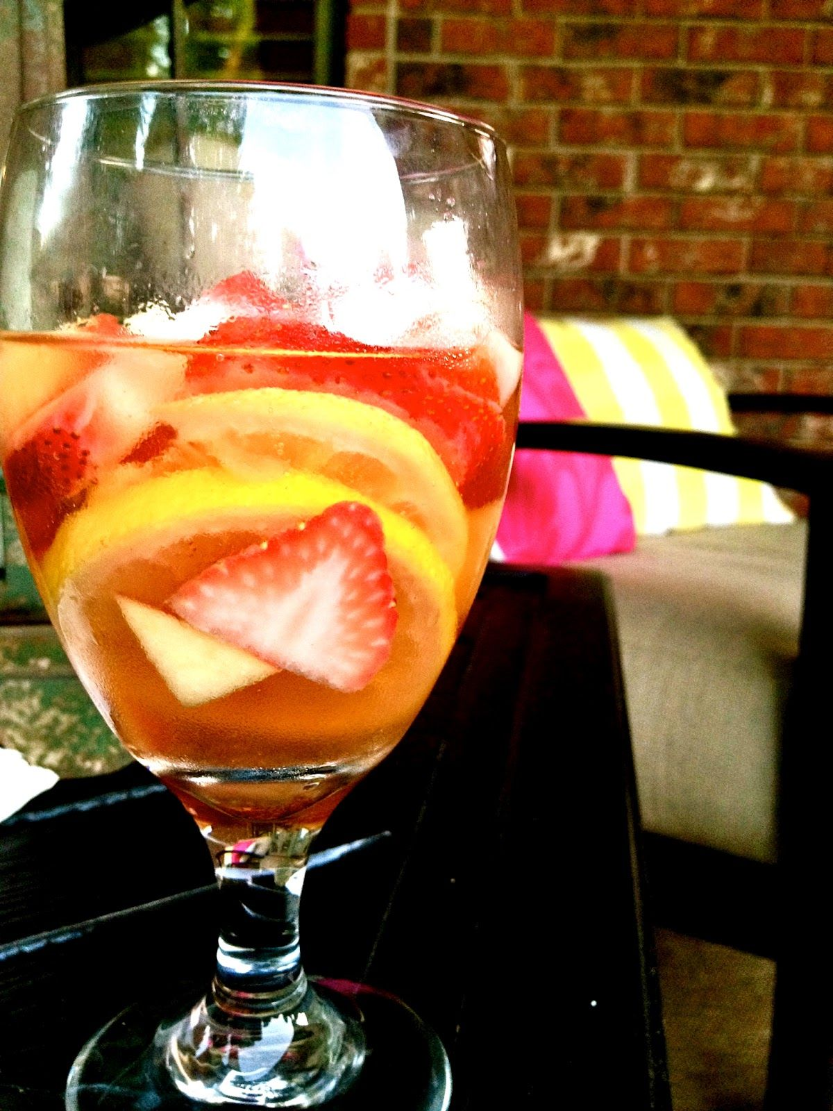 My Favorite Sangria- White Strawberry-Lemon Sangria