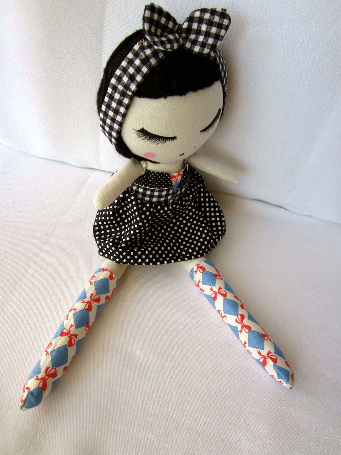 Hair and bow....Custom Classic Cloth Doll by Mend. $60.00, via Etsy.