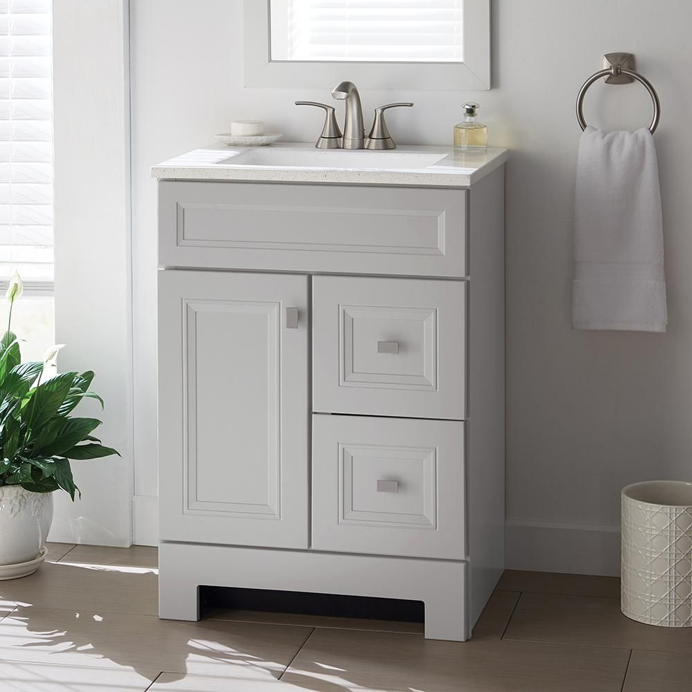 Home Decorators Collection Sedgewood 24 1 2 In Bath Vanity In Dove Gray With Solid Surface Technology Vanity Top In Arctic With White Sink Pplnkdvr24d Grey Bathroom Vanity White Sink Bathroom Vanity Tops