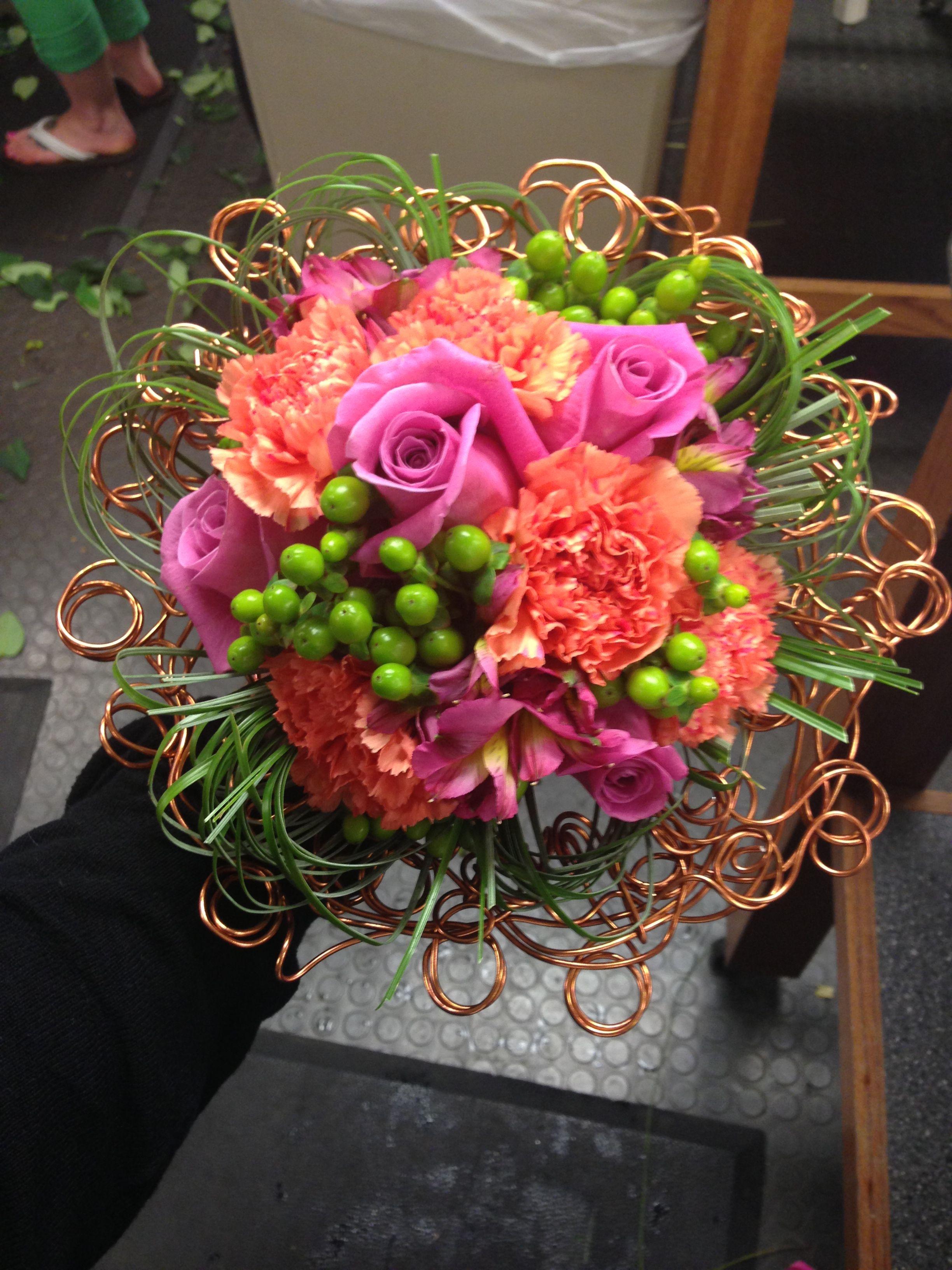 Bridal bouquet with unique wire collar. Designed by Rebekah ...