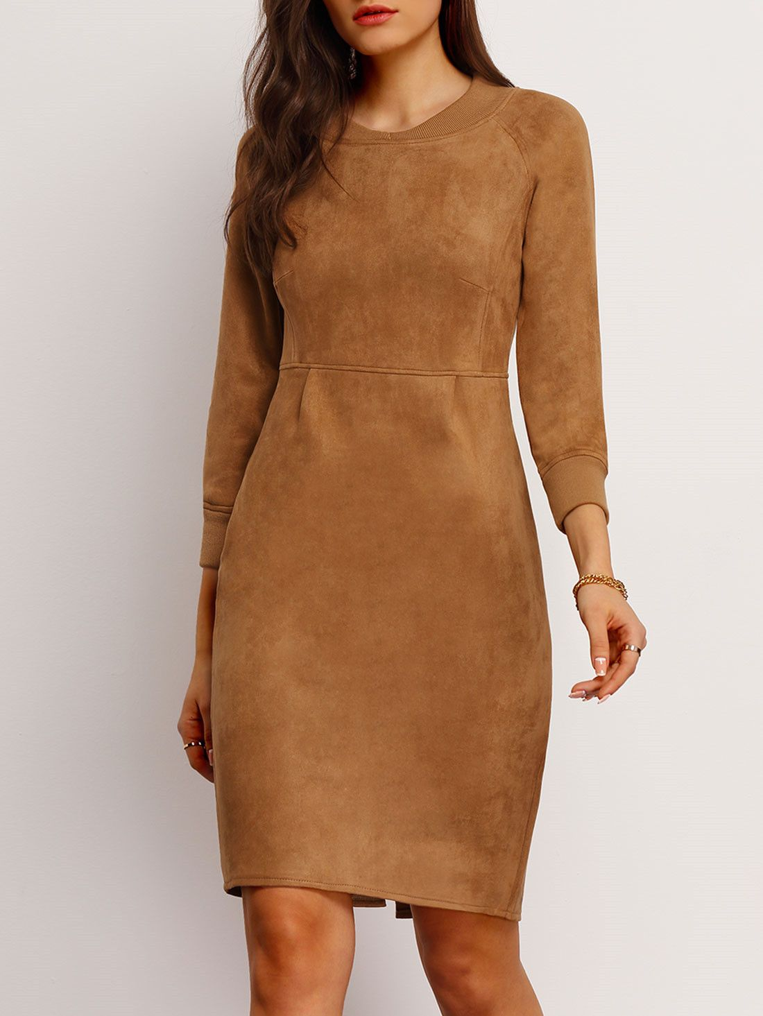 d3d24961b368 Khaki Long Sleeve Slim Split Suede Dress 36.39