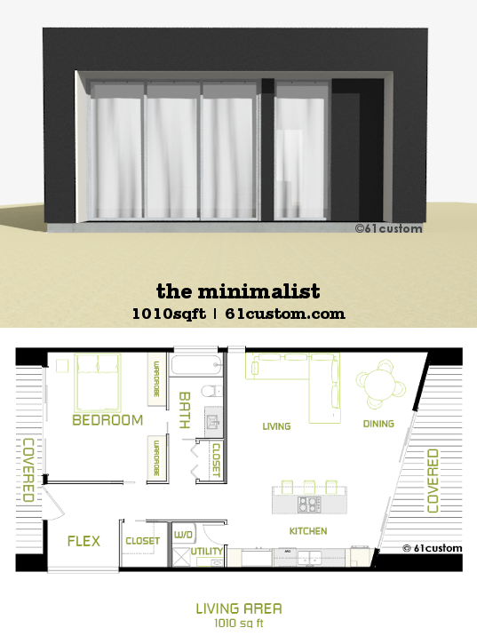 The Minimalist Is A Small Modern House Plan With One Bedroom And An