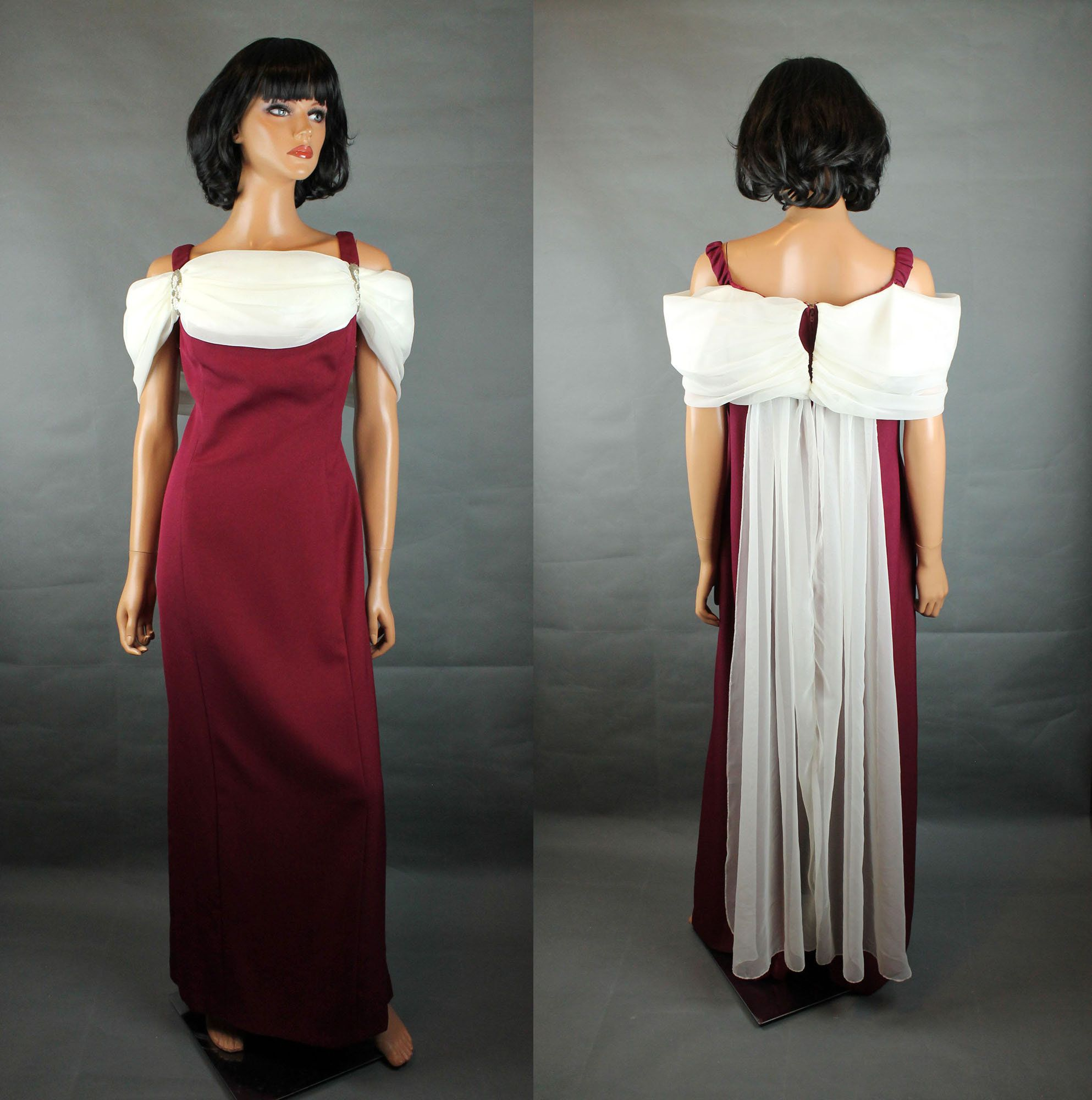 90s Prom Dress Sz Xl Vintage Dark Maroon Burgundy Red White Chiffon Long Gown Free Us Shipping By Hepcatclothes O Dresses 90s Prom Dress Vintage Formal Dresses [ 2000 x 1986 Pixel ]