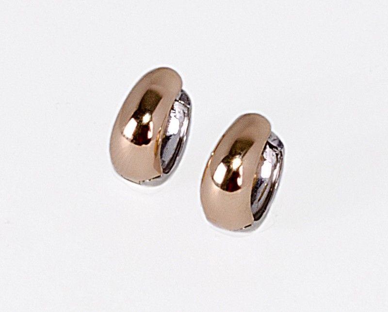 0bf53455c6f4 Coleccion Oro y Plaza   Candongas mitad lisa en plata y oro Rosado ...