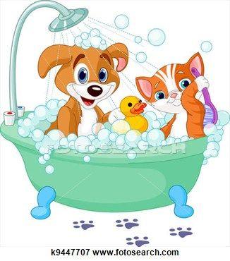 Dog And Cat Having A Bath Dog Bath Very Cute Dogs Cute Cats