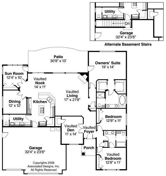 Ryland 30 336 Ranch House Plans Associated Designs House Plans Home Design Floor Plans House Floor Plans