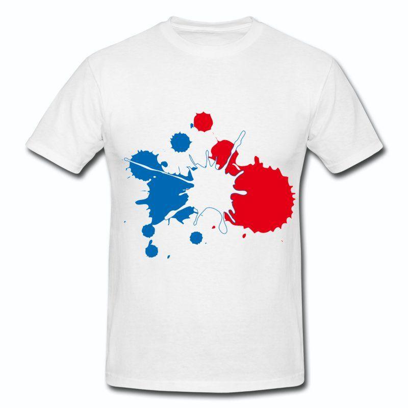 T Shirt Blanc France Supporter Bleu Blanc Rouge Tache De Peinture