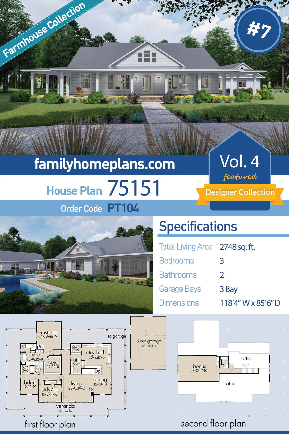 Southern Style House Plan 75151 With 3 Bed 2 Bath 3 Car Garage House Plans Farmhouse House Plans Country Style Homes