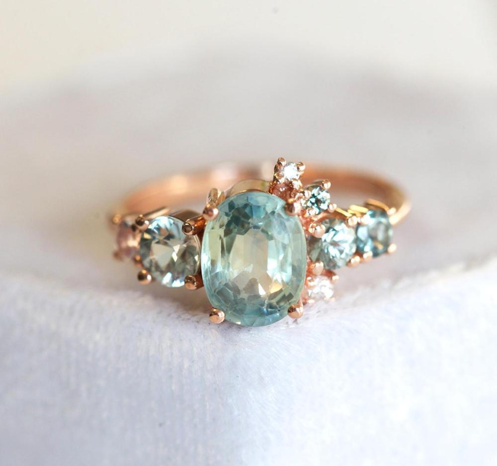 Light Green Sapphire Engagement Ring Cluster Ring Oval Etsy In 2020 Green Sapphire Engagement Ring Green Sapphire Engagement Engagement Rings Sapphire