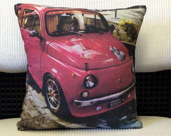 Instagram Photograph - Red Custom Fiat 500 - Cushion / Pillow. $35    #instacushion #instageneration #barondelabry #barondelabryemporium