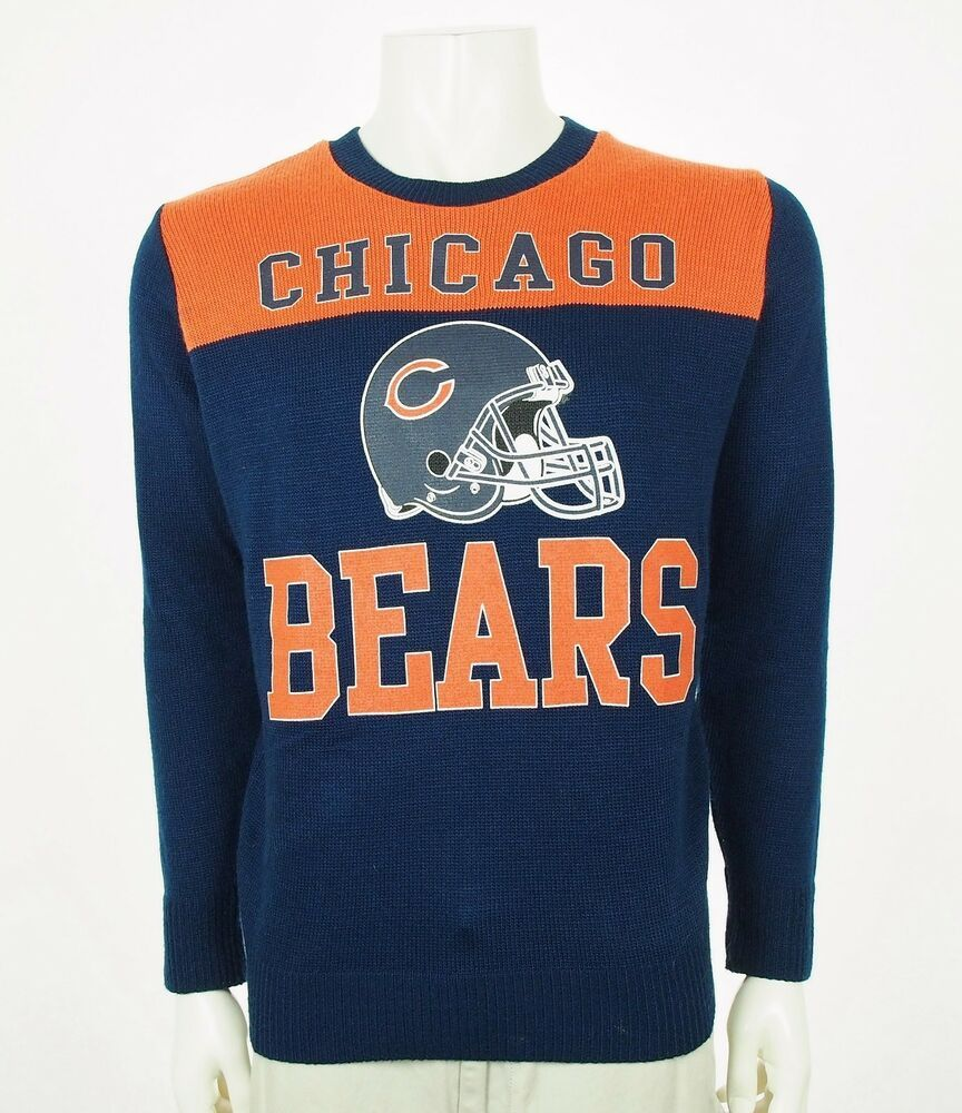 cheap for discount 1a6b0 543ec Junk Food Chicago Bears Retro Blue NFL Knit Sweater Mens ...