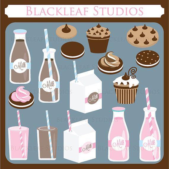 Milk And Cookies Clip Art Instant Download Baby Shower Scrapbook