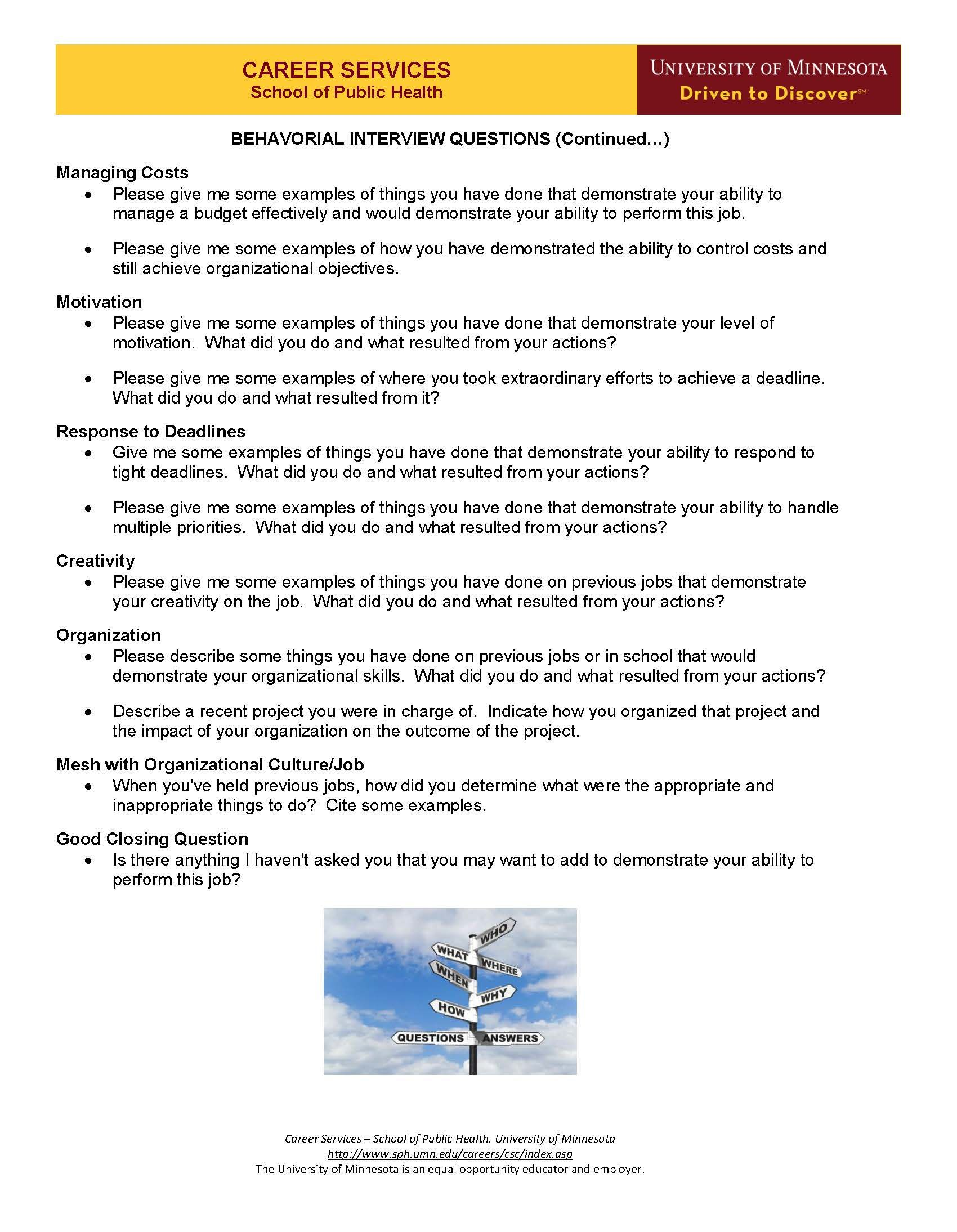 Behavioral Interview Questions Page 2