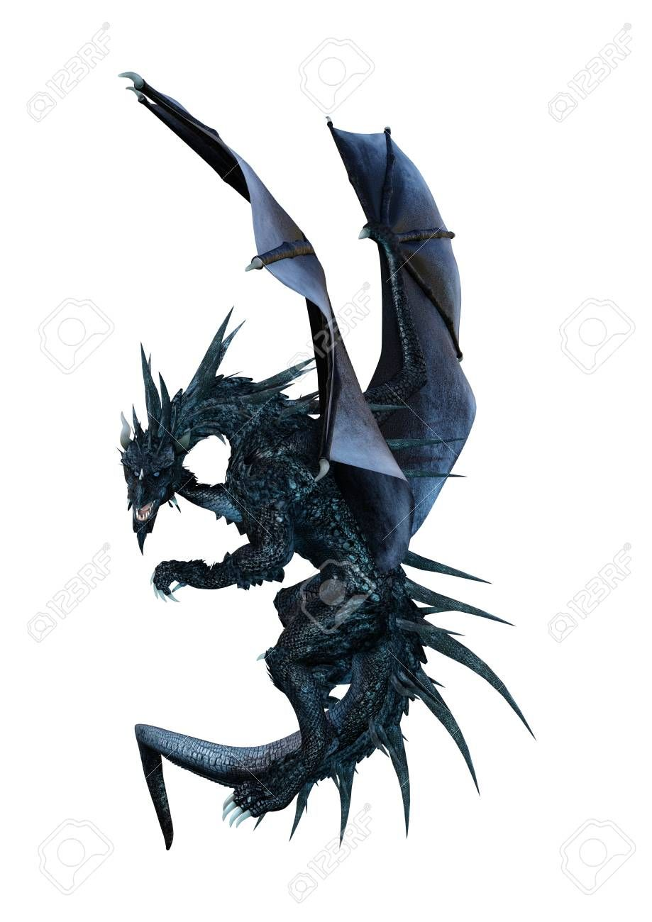 3D rendering of a black fairy tale dragon isolated on white background Stock Photo