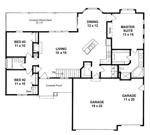 Plan 1500 3 Bed 2 Bath Open Ranch With Covered Deck New House Plans Ranch House Plans House Floor Plans