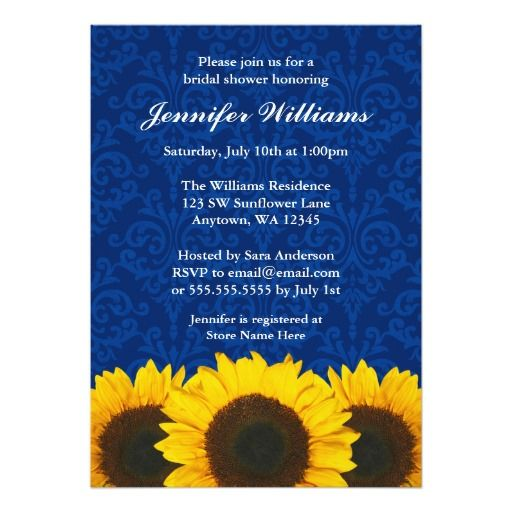96c7c3e6e262 Sunflower Blue Damask Bridal Shower Card A country themed bridal shower  invitation featuring yellow sunflowers on an elegant navy blue damask  background.