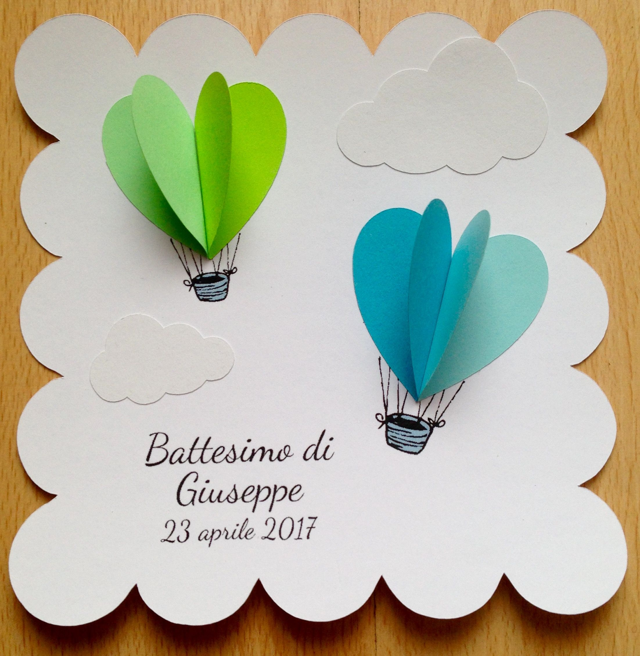 Baptism card, menù, invitation for baby shower with hot air balloons and clouds