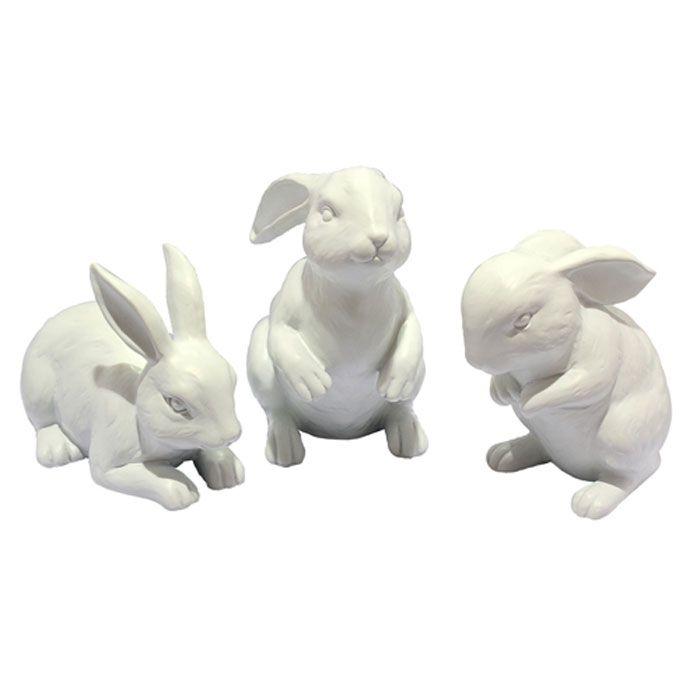 Playful white rabbit ornament set   Home Ideas   Pinterest   Shops ...