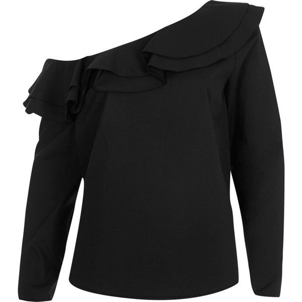 771db9641af06 River Island Black one shoulder frill long sleeve top ( 64) ❤ liked on Polyvore  featuring tops
