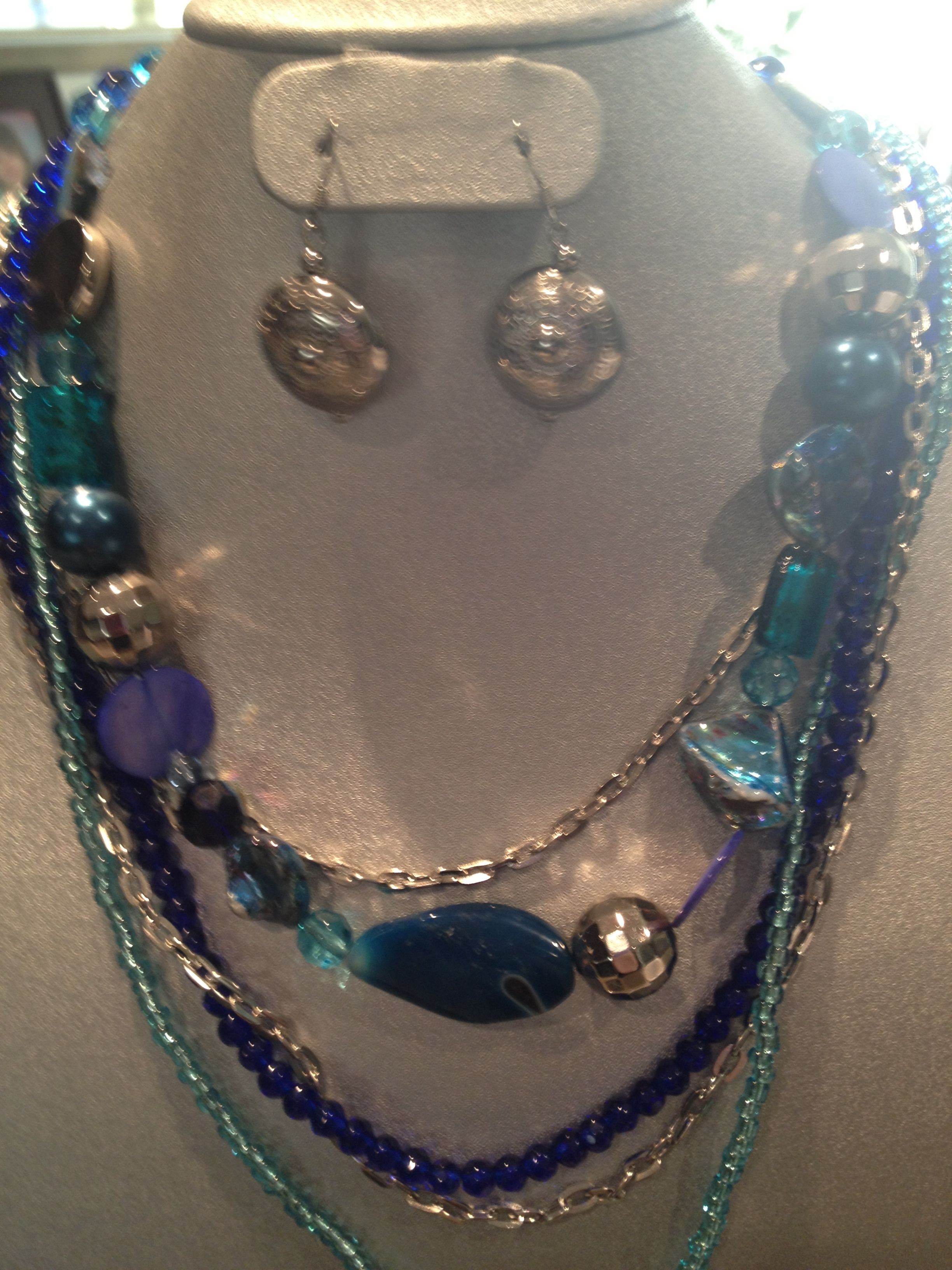 3 in one necklace in turquoise, purple or topaz - can be worn in 3 ways
