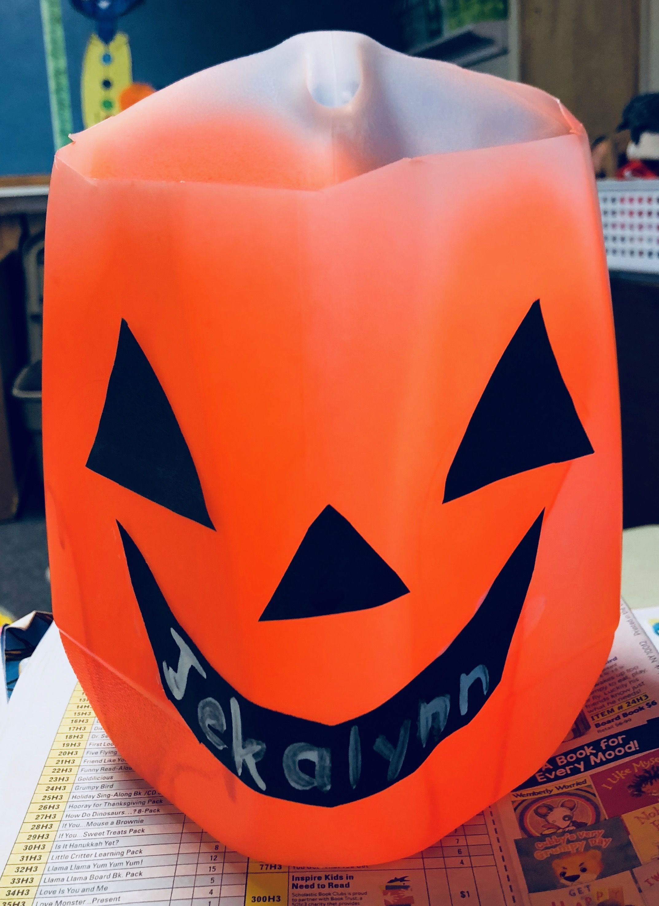 Pumpkin Made Out Of Milk Jug Left The Handle On To Use As