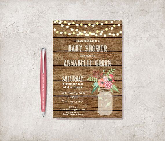 Rustic Girl Baby Shower Invitation Printable Mason Jar Floral Baby