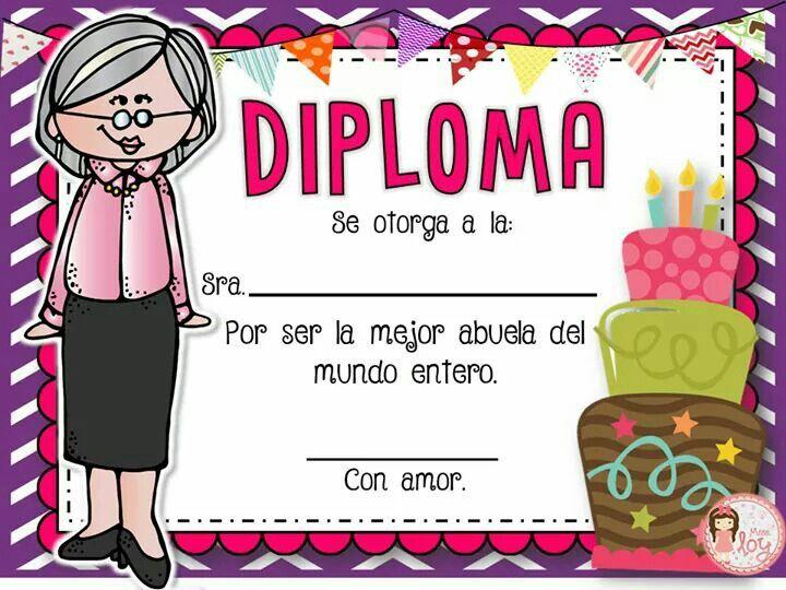 Diploma Para Día De La Madre Diplomas Para Mamá Diplomas Dia Del Padre Regalos Para Abuelita