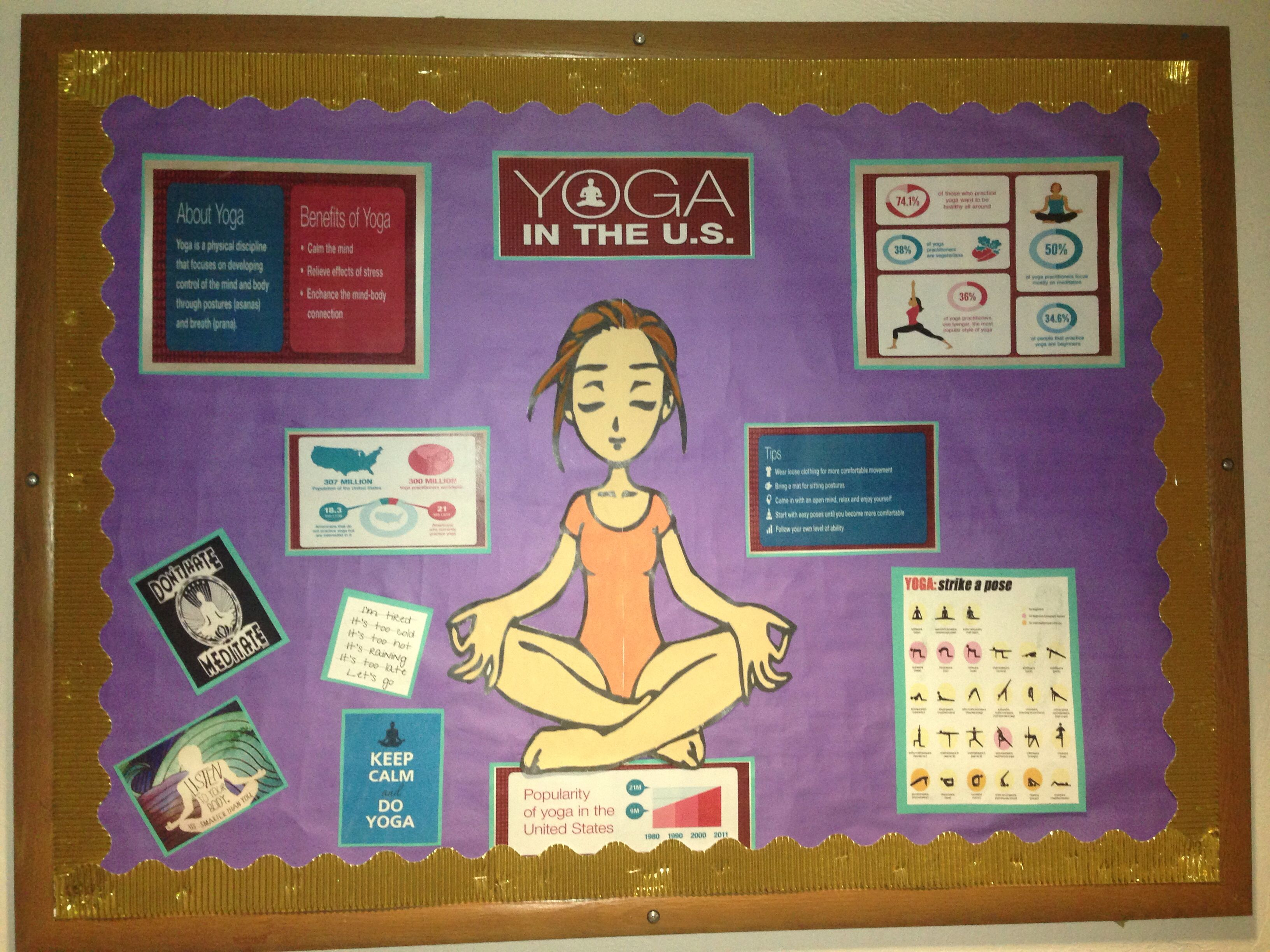 Yoga School Bulletin Board Shows different facts about the U. Perfect for  starting the year right and getting students involved with being fit.