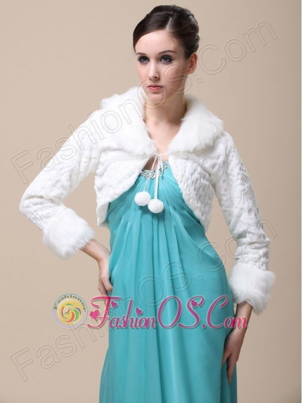 Faux Fur Special Occasion / Wedding Jacket With Long Sleeves and ...