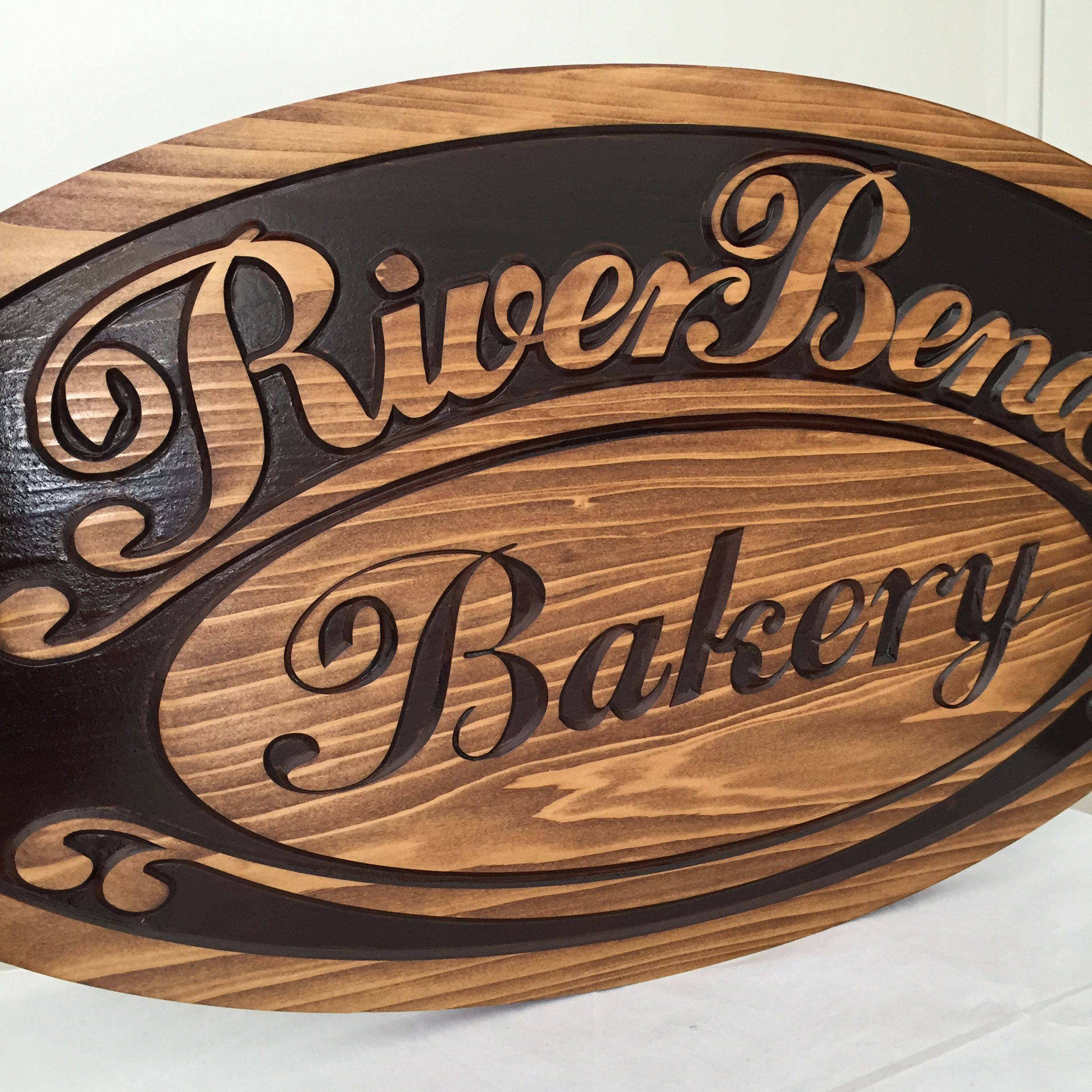 Wooden carved outdoor business logo sign two tone stain ...