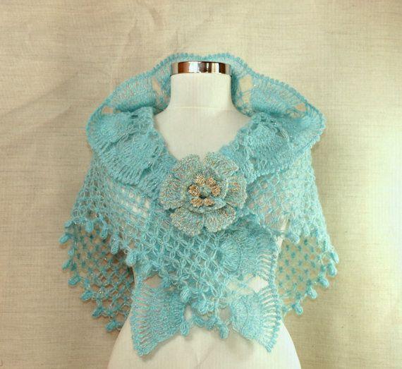 Coral Blue Crochet Shawl, Shawlette, Wedding Shawl, Bridal Shrug ...
