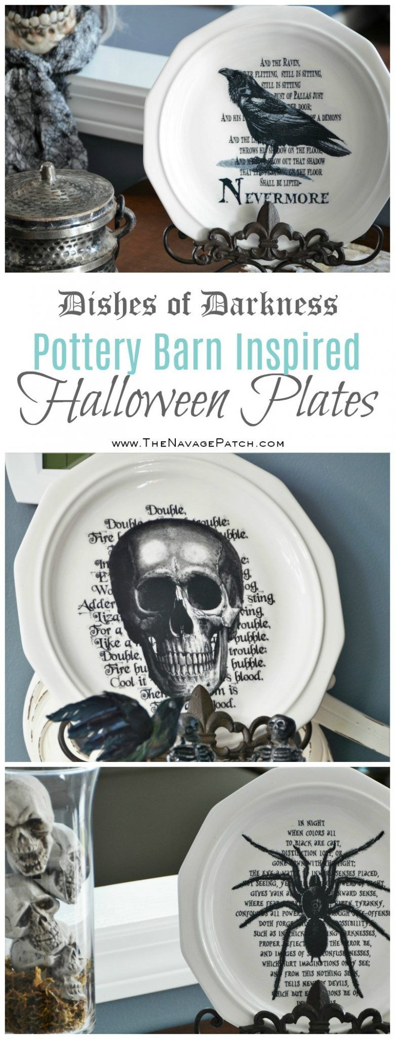 Dishes Of Darkness Pottery Barn Inspired Halloween Plates Diy Halloween Decoration How To Im Halloween Plates Halloween Plates Diy Pottery Barn Halloween