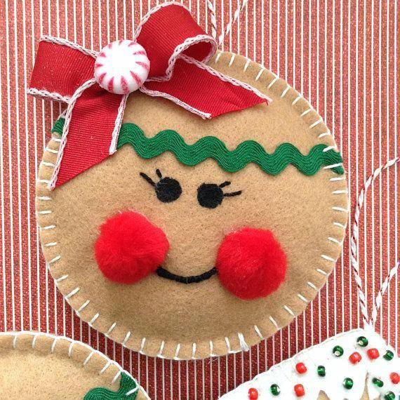 Gingerbread Christmas Ornaments / Felt Gingerbread Ornaments / Set