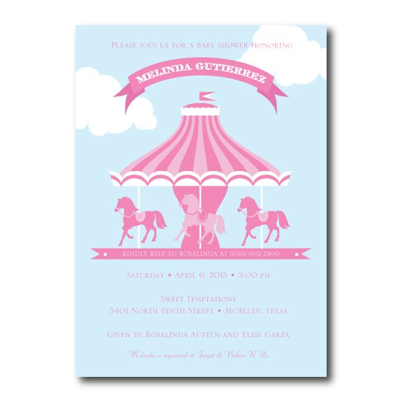 Carousel horse baby shower invitation in cotton candy pink and blue carousel horse baby shower invitation in cotton candy pink and blue filmwisefo Gallery