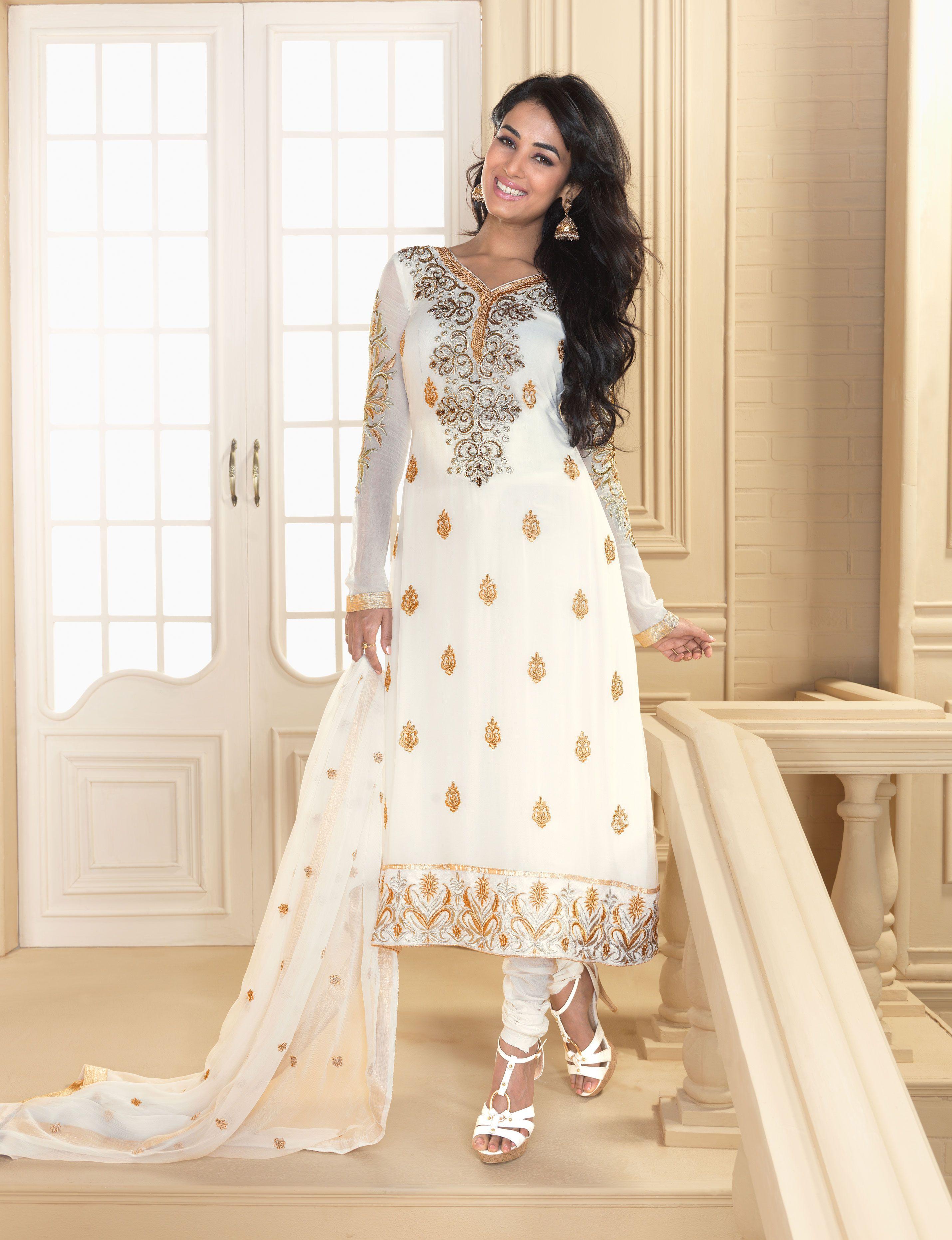 09507623a5 White and gold salwar   What We'll Wear...   Wedding salwar kameez ...