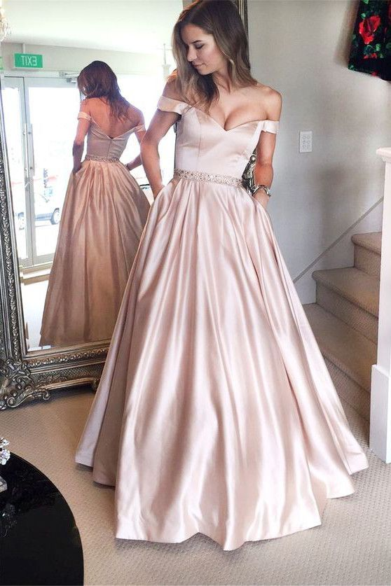 A-line Off the ShoulderProm Dresses,Ruffles Party Dress,Formal ...