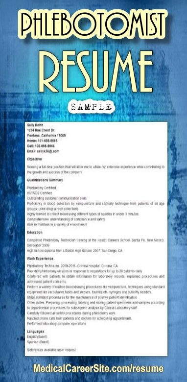 create your own phlebotomist resume use this sample resume and create your unique resume for the post of phlebotomist