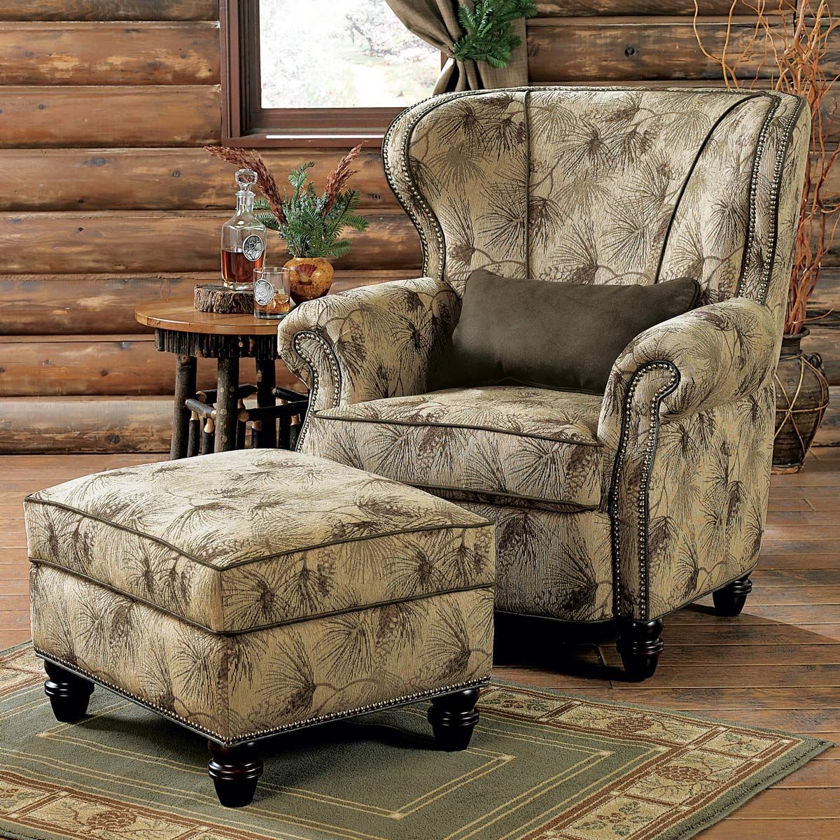 High Back Club Chair With Ottoman
