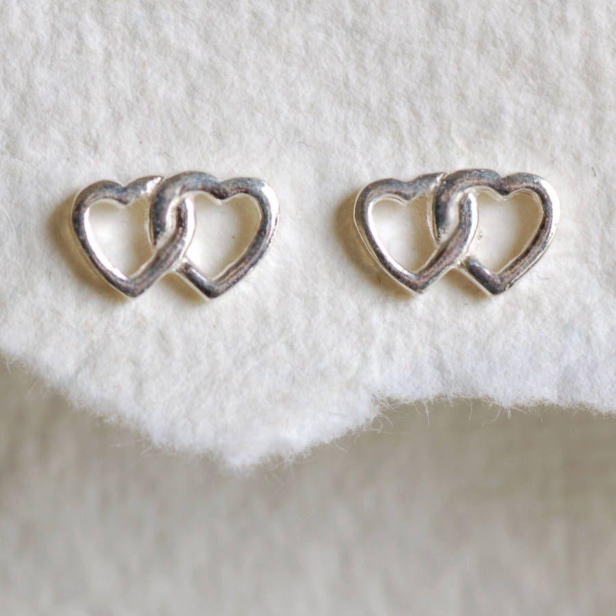 Sterling silver twin heart earrings sterling silver