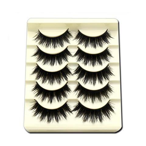 17e4f8e1c4e 5Pairs/Set Professinal Black Natural Long Fake Eye Lashes Handmade Thick False  Eyelashes Black Makeup
