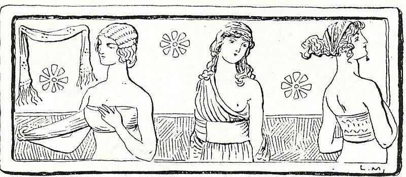 MAMILLARÉ: Cinta que se coloca en el busto, debajo del peplos. Pieza rectangular utilizada por las mujeres griegas y romanas a manera de faja para los senos.